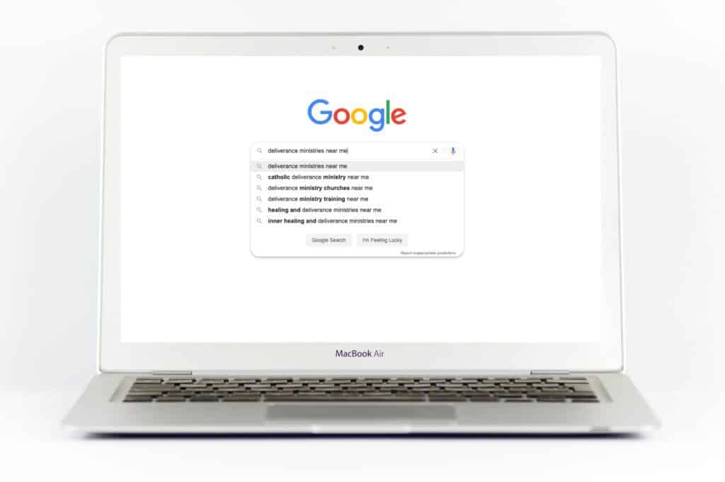Laptop with Google Search about deliverance ministry