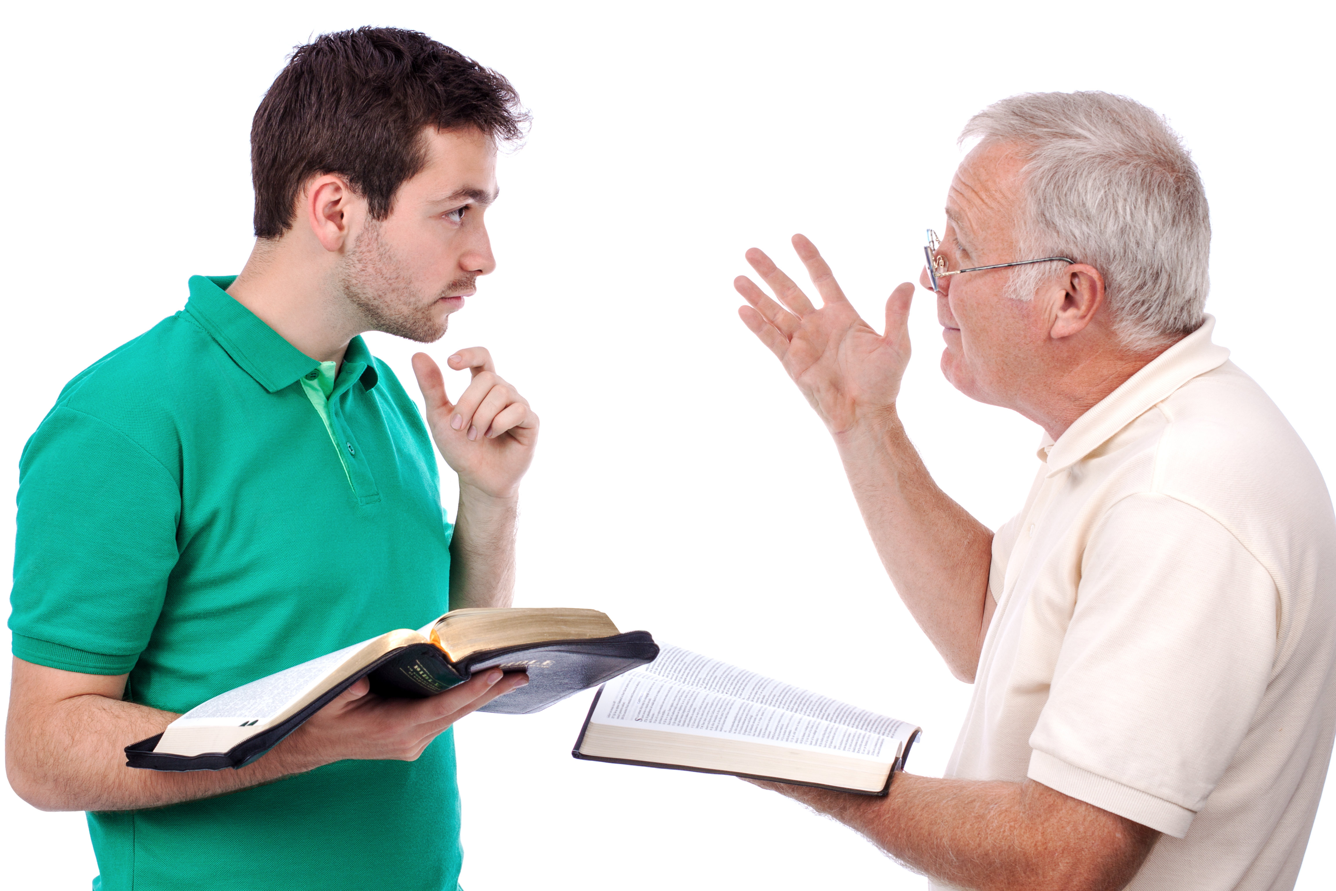 Old man sharing God's Words with a young man