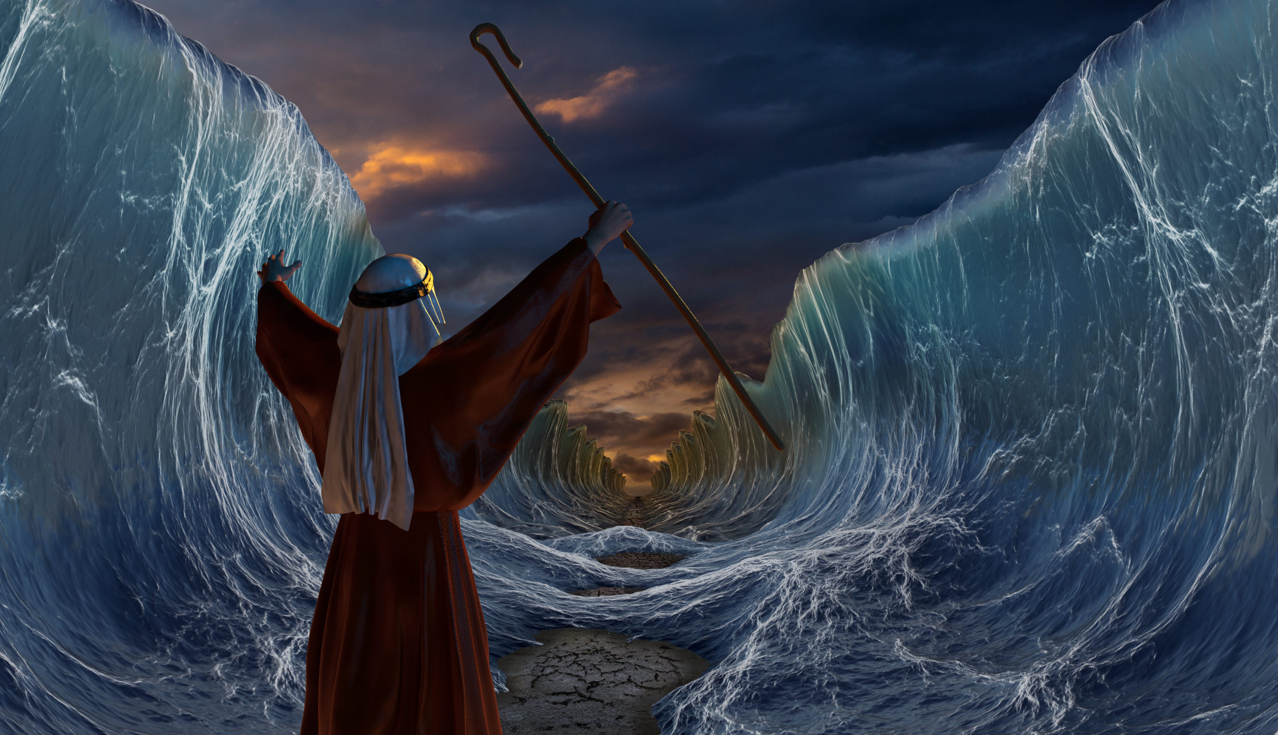 Part of biblical narrative - escape Israelites. Big waves as open ocean under the dramatic sky as one man stands in the forground raising bouth his arms with a rod in his right hand. 3D render illustration.